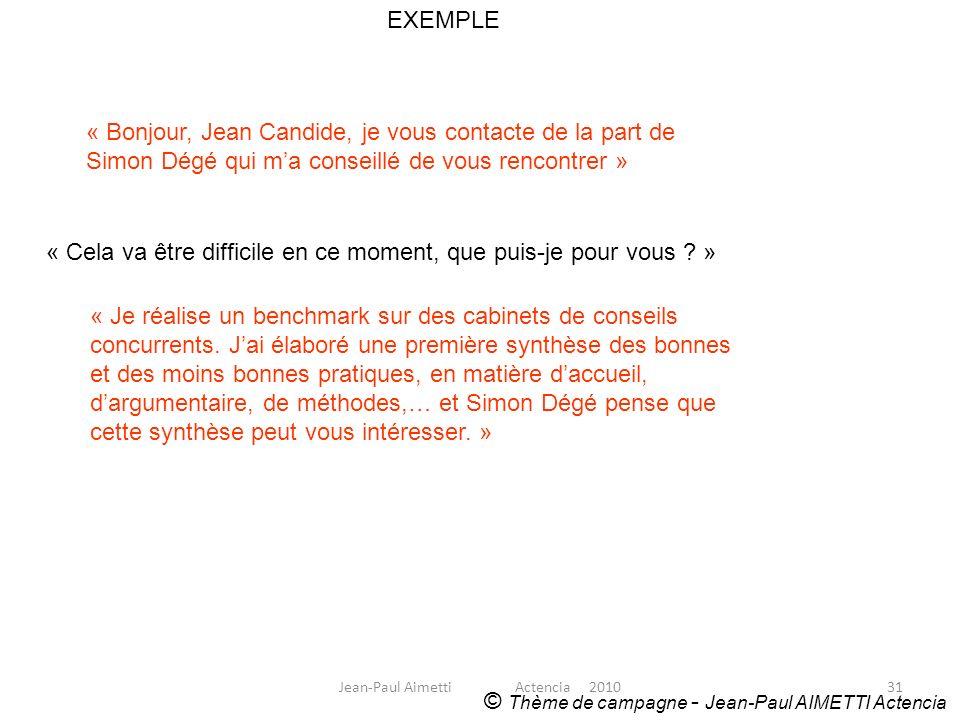 31 EXEMPLE © Thème de campagne - Jean-Paul AIMETTI Actencia « Bonjour, Jean Candide, je vous contacte de la part de Simon Dégé qui ma conseillé de vou