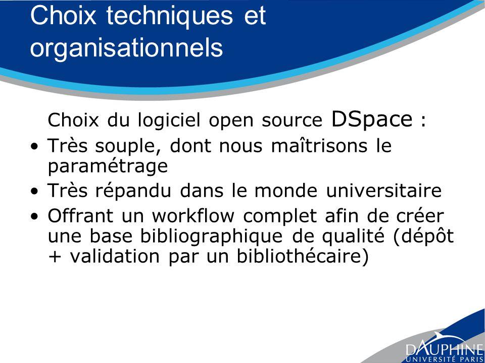 Choix techniques et organisationnels Choix du logiciel open source DSpace : Très souple, dont nous maîtrisons le paramétrage Très répandu dans le monde universitaire Offrant un workflow complet afin de créer une base bibliographique de qualité (dépôt + validation par un bibliothécaire)