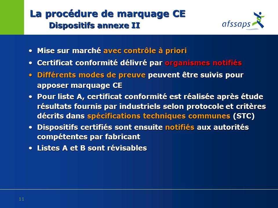 11 La procédure de marquage CE Dispositifs annexe II Mise sur marché avec contrôle à priori Mise sur marché avec contrôle à priori Certificat conformi