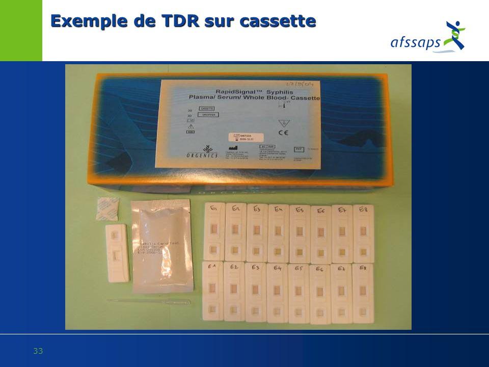 33 Exemple de TDR sur cassette