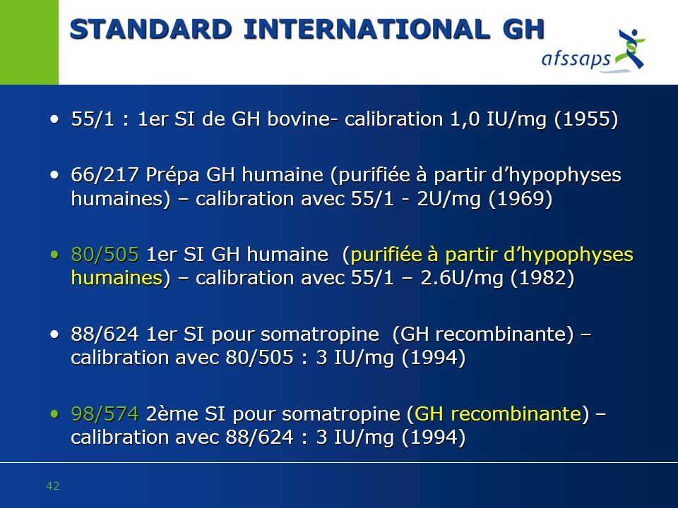 42 STANDARD INTERNATIONAL GH 55/1 : 1er SI de GH bovine- calibration 1,0 IU/mg (1955) 55/1 : 1er SI de GH bovine- calibration 1,0 IU/mg (1955) 66/217