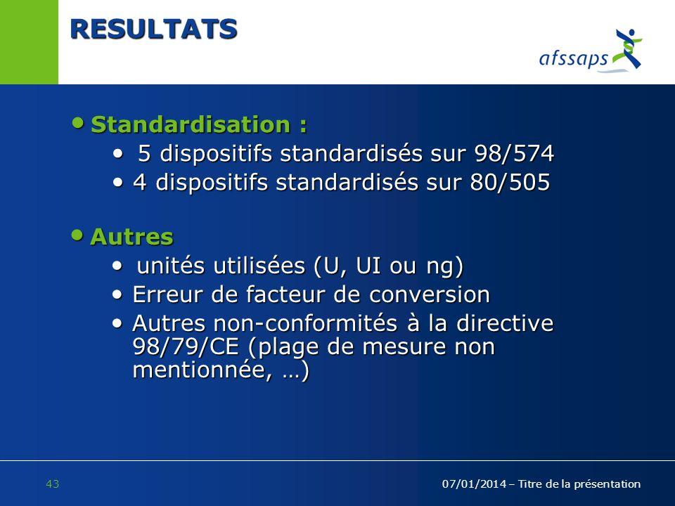 43 07/01/2014 – Titre de la présentation RESULTATS Standardisation : Standardisation : 5 dispositifs standardisés sur 98/574 5 dispositifs standardisé