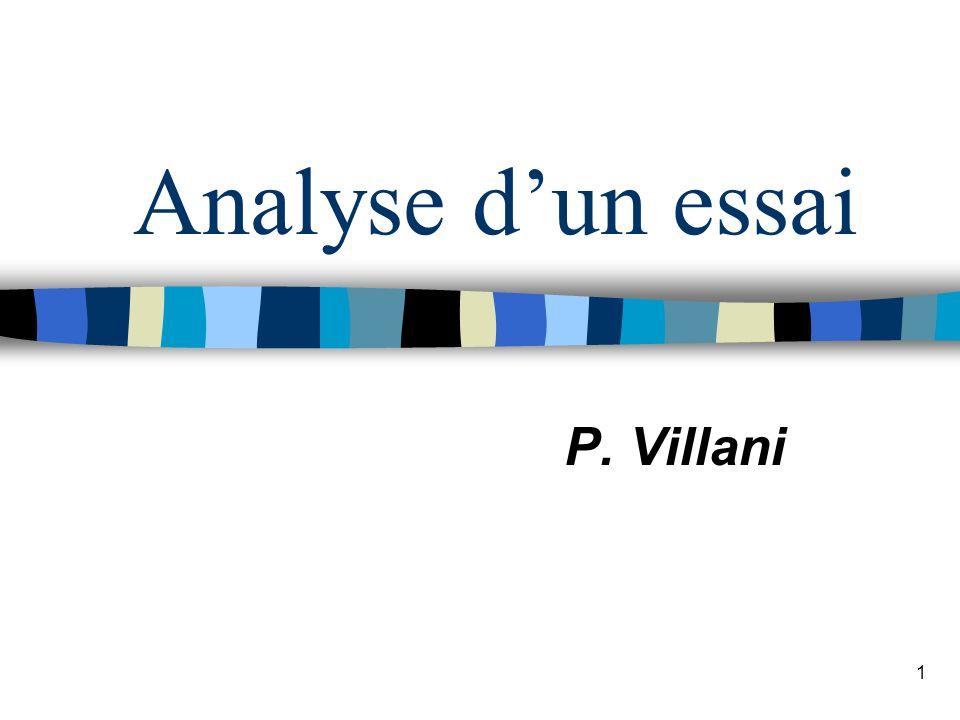 1 Analyse dun essai P. Villani