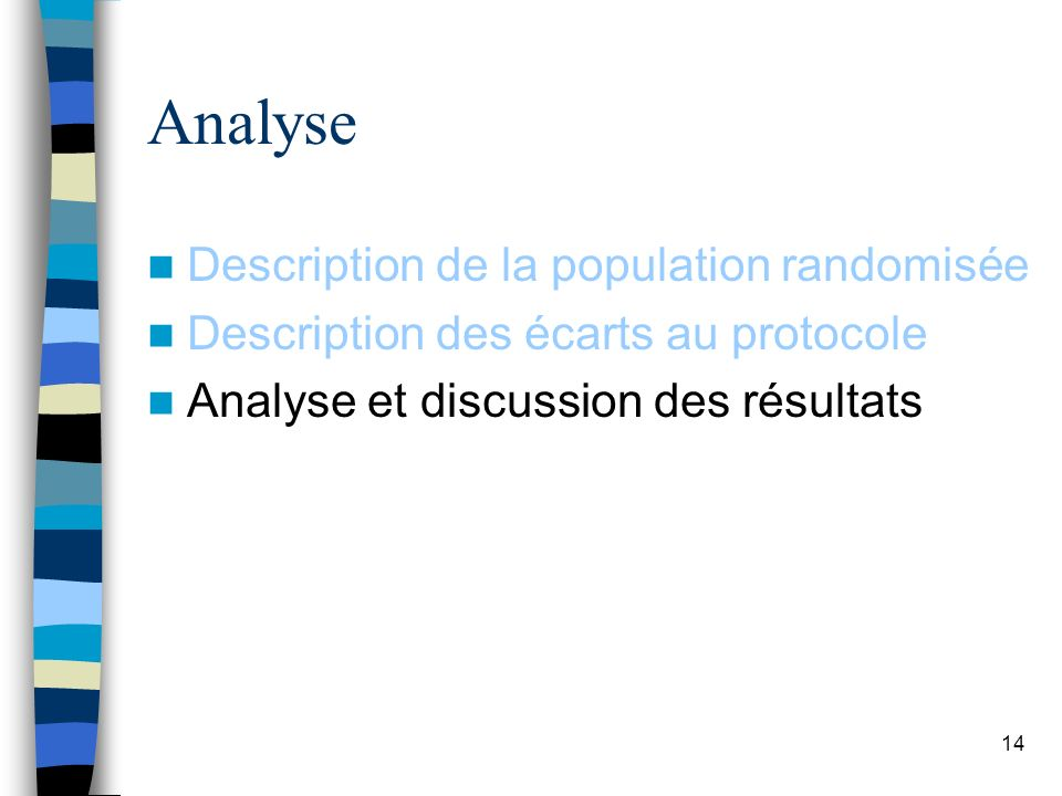 14 Analyse Description de la population randomisée Description des écarts au protocole Analyse et discussion des résultats