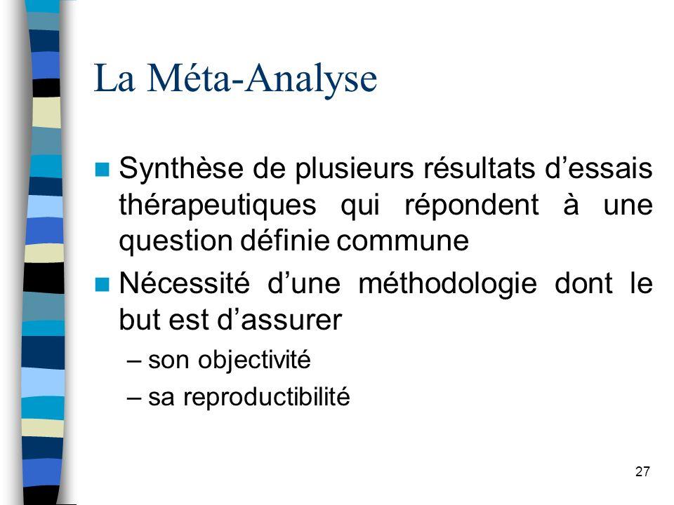 27 La Méta-Analyse Synthèse de plusieurs résultats dessais thérapeutiques qui répondent à une question définie commune Nécessité dune méthodologie dont le but est dassurer –son objectivité –sa reproductibilité