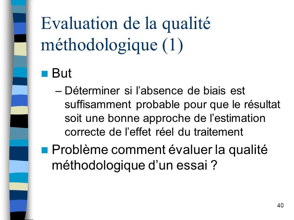 40 Evaluation de la qualité méthodologique (1) But –Déterminer si labsence de biais est suffisamment probable pour que le résultat soit une bonne approche de lestimation correcte de leffet réel du traitement Problème comment évaluer la qualité méthodologique dun essai ?