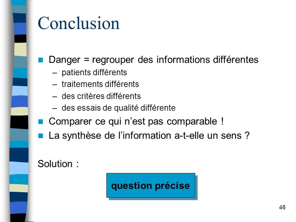 46 Conclusion Danger = regrouper des informations différentes –patients différents –traitements différents –des critères différents –des essais de qualité différente Comparer ce qui nest pas comparable .