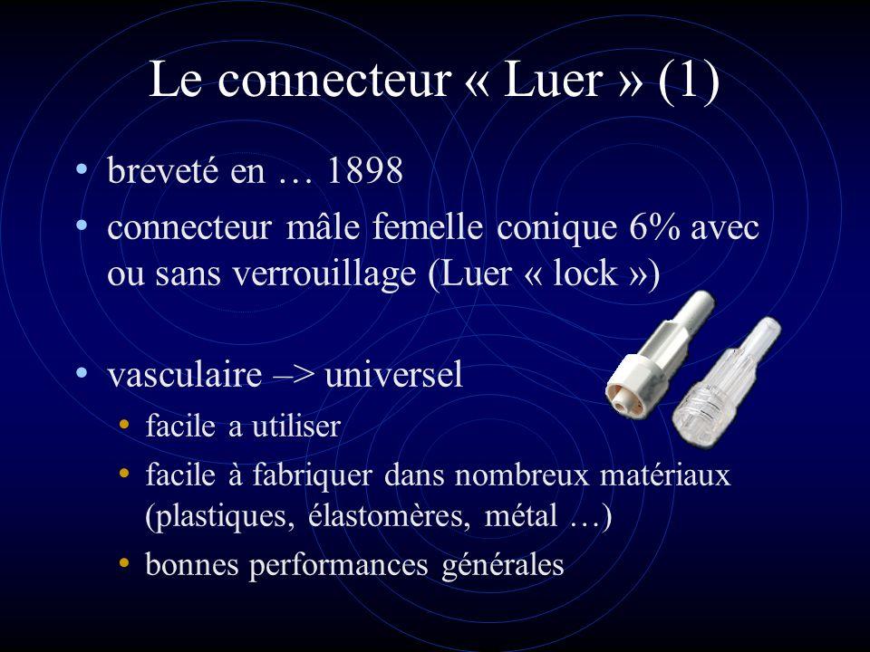 Le connecteur « Luer » (1) breveté en … 1898 connecteur mâle femelle conique 6% avec ou sans verrouillage (Luer « lock ») vasculaire –> universel faci