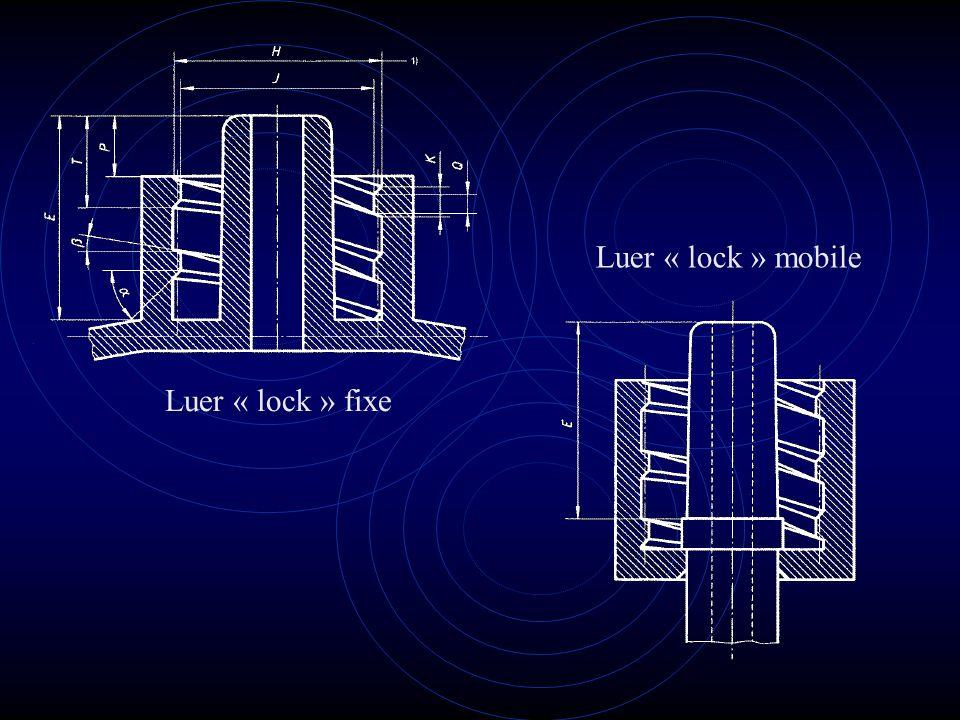 Luer « lock » fixe Luer « lock » mobile