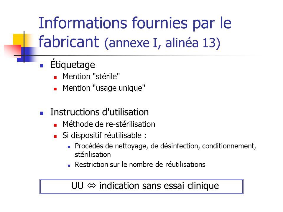 Informations fournies par le fabricant (annexe I, alinéa 13) Étiquetage Mention