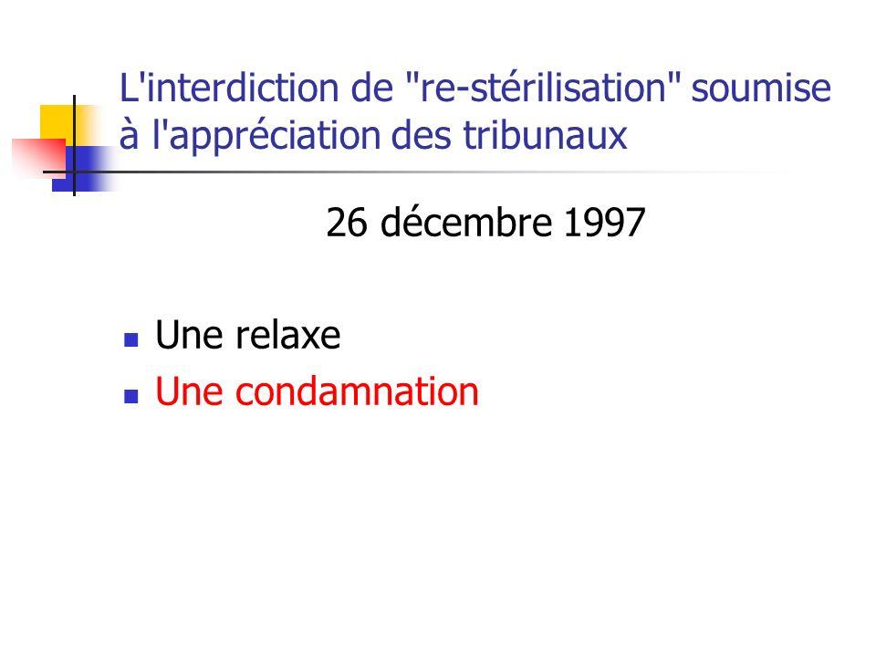 L interdiction de re-stérilisation soumise à l appréciation des tribunaux 26 décembre 1997 Une relaxe Une condamnation