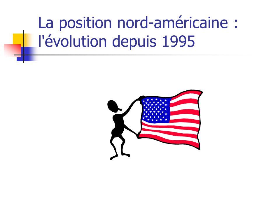 La position nord-américaine : l'évolution depuis 1995