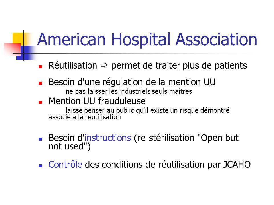 American Hospital Association Réutilisation permet de traiter plus de patients Besoin d'une régulation de la mention UU ne pas laisser les industriels