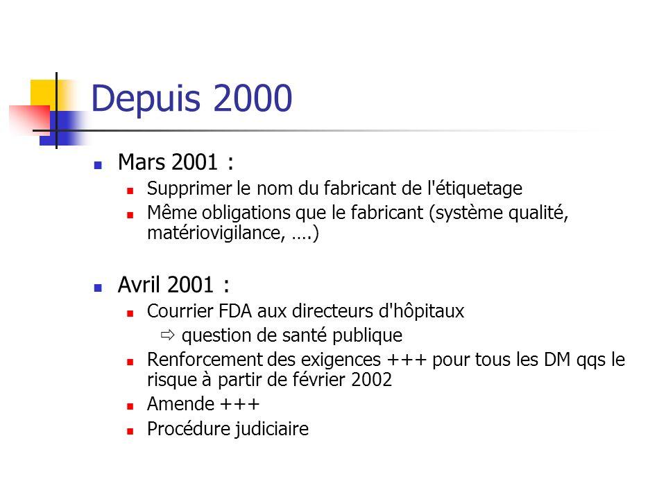 Depuis 2000 Mars 2001 : Supprimer le nom du fabricant de l'étiquetage Même obligations que le fabricant (système qualité, matériovigilance, ….) Avril