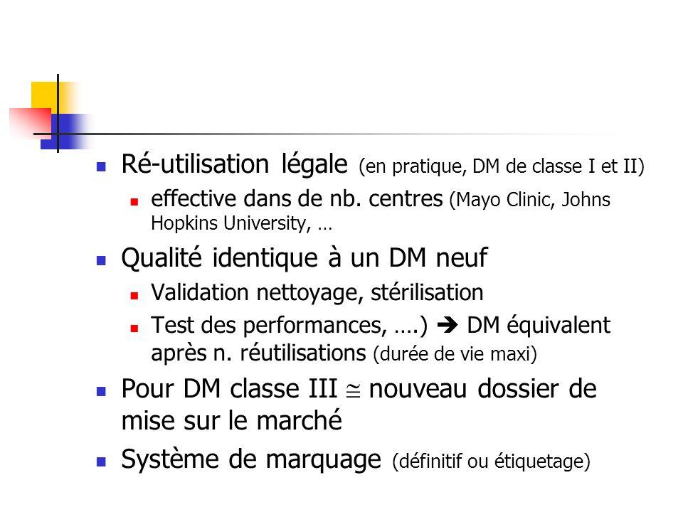 Ré-utilisation légale (en pratique, DM de classe I et II) effective dans de nb. centres (Mayo Clinic, Johns Hopkins University, … Qualité identique à