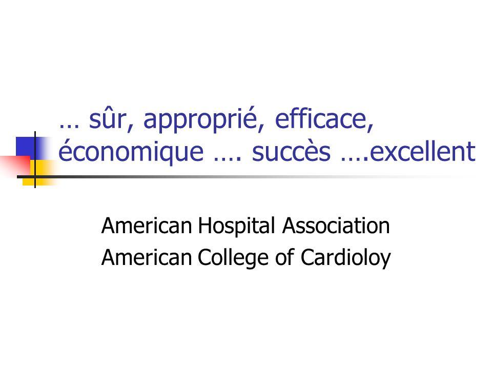 … sûr, approprié, efficace, économique …. succès ….excellent American Hospital Association American College of Cardioloy