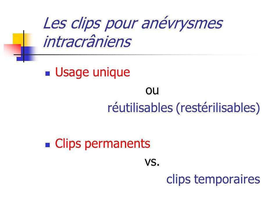 Usage unique ou réutilisables (restérilisables) Clips permanents vs. clips temporaires Les clips pour anévrysmes intracrâniens