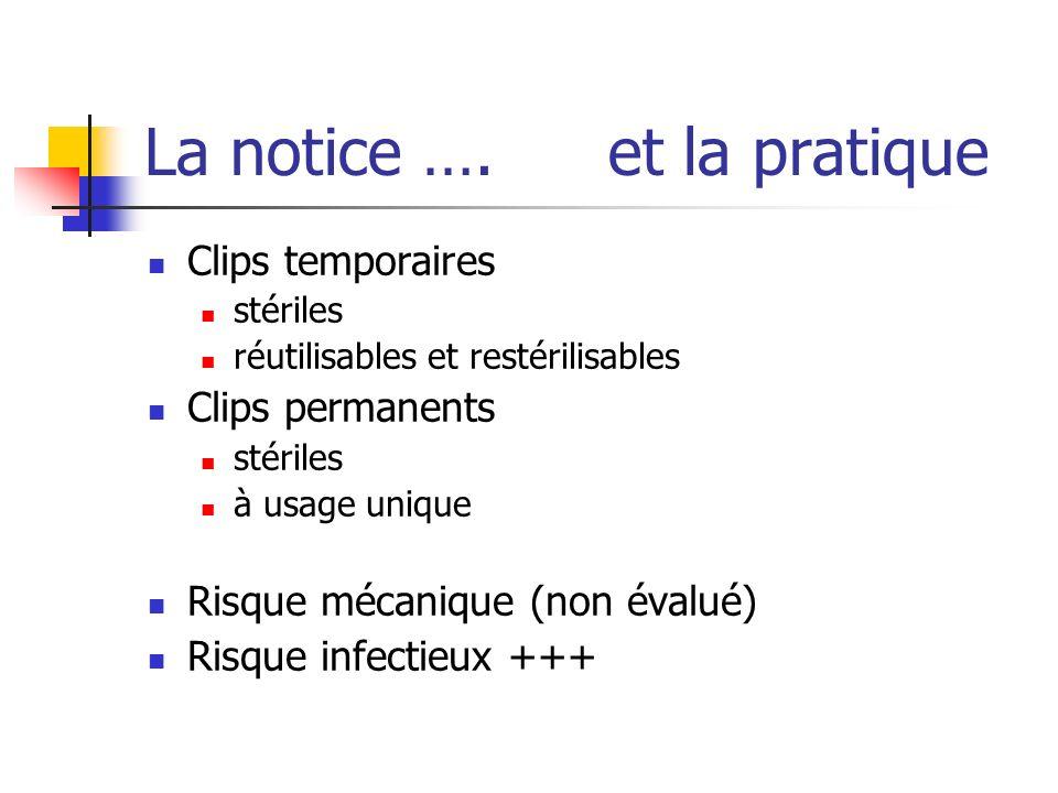 La notice …. et la pratique Clips temporaires stériles réutilisables et restérilisables Clips permanents stériles à usage unique Risque mécanique (non