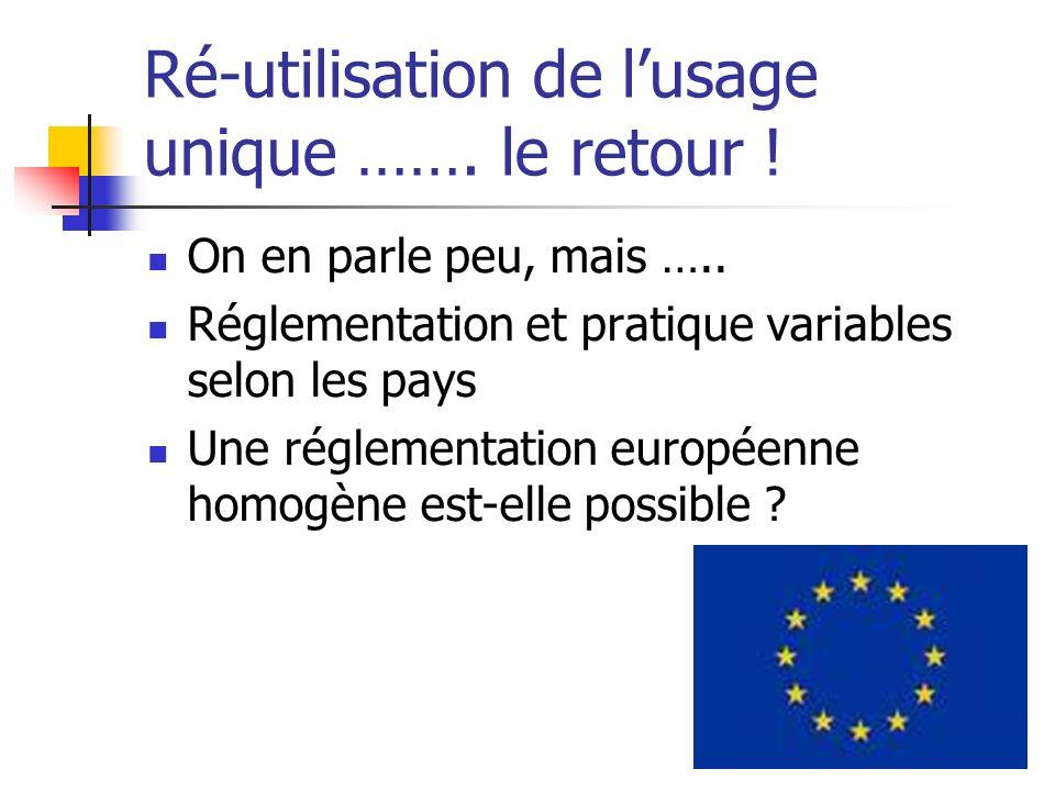 Ré-utilisation de lusage unique ……. le retour ! On en parle peu, mais ….. Réglementation et pratique variables selon les pays Une réglementation europ