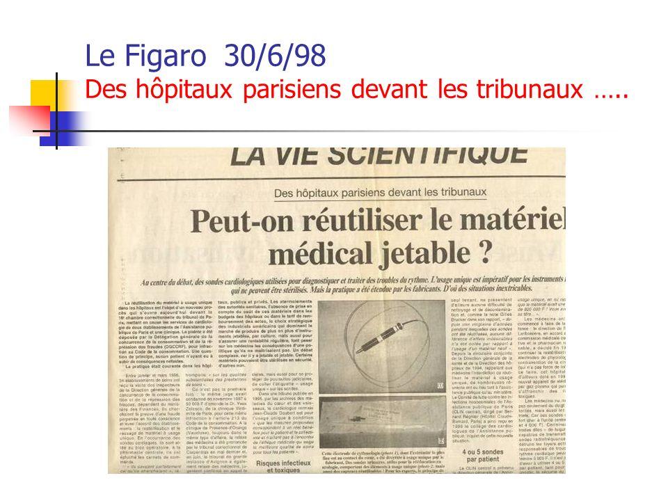 Le Figaro 30/6/98 Des hôpitaux parisiens devant les tribunaux …..