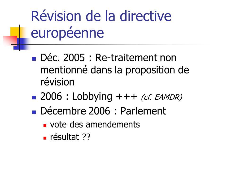 Révision de la directive européenne Déc. 2005 : Re-traitement non mentionné dans la proposition de révision 2006 : Lobbying +++ (cf. EAMDR) Décembre 2