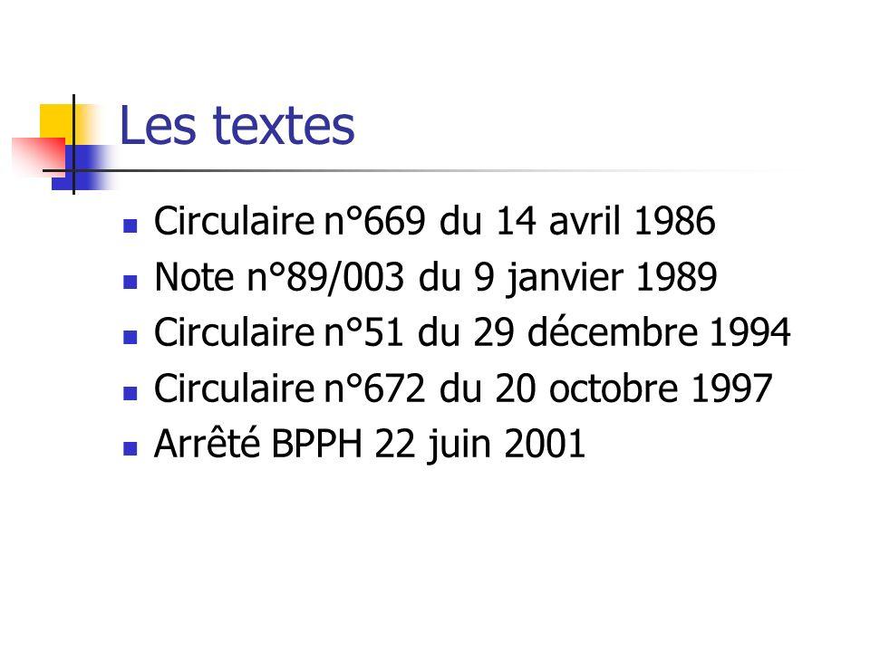 Les textes Circulaire n°669 du 14 avril 1986 Note n°89/003 du 9 janvier 1989 Circulaire n°51 du 29 décembre 1994 Circulaire n°672 du 20 octobre 1997 Arrêté BPPH 22 juin 2001