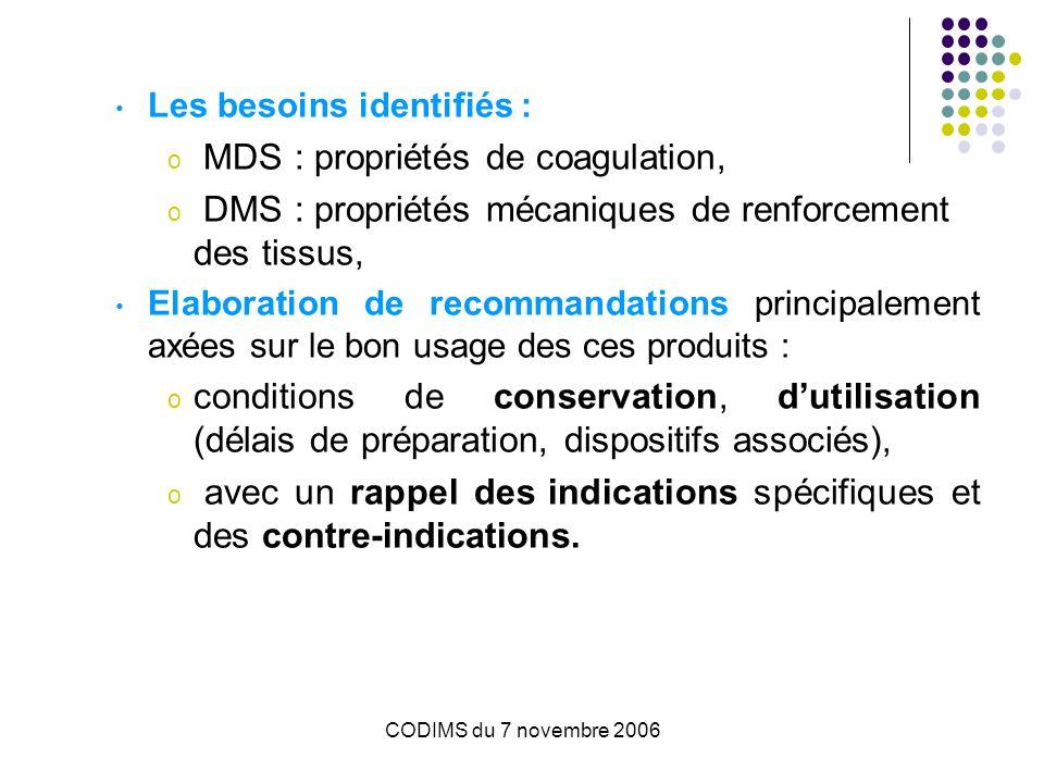 CODIMS du 7 novembre 2006 Les besoins identifiés : o MDS : propriétés de coagulation, o DMS : propriétés mécaniques de renforcement des tissus, Elabor