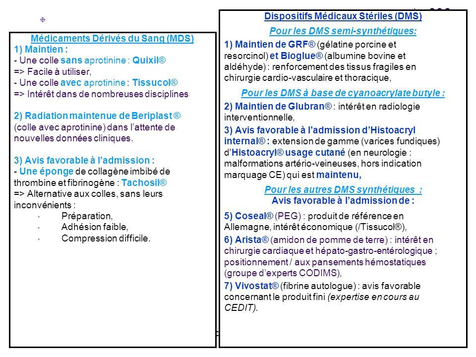 CODIMS du 7 novembre 2006 Médicaments Dérivés du Sang (MDS) 1) Maintien : - Une colle sans aprotinine : Quixil® => Facile à utiliser, - Une colle avec