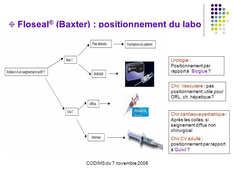 CODIMS du 7 novembre 2006 Floseal ® (Baxter) : positionnement du labo Chir cardiaque pediatrique : Après les colles, si saignement diffus non chirurgi