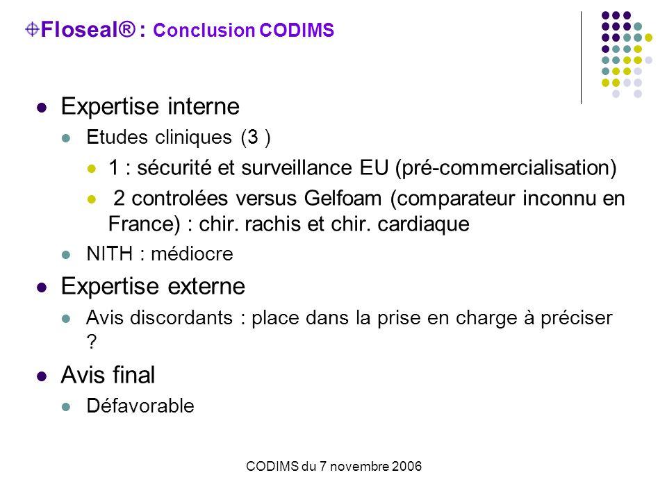 CODIMS du 7 novembre 2006 Floseal® : Conclusion CODIMS Expertise interne Etudes cliniques (3 ) 1 : sécurité et surveillance EU (pré-commercialisation)