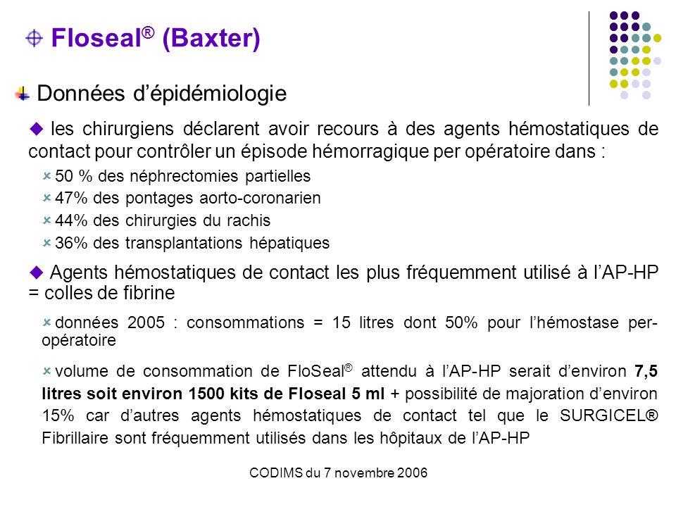 CODIMS du 7 novembre 2006 Floseal ® (Baxter) Choix dun hémostatique dépend de plusieurs critères : le type de procédure chirurgicale la sévérité de lhémorragie rencontrée la difficulté daccès au site hémorragique lexpérience du chirurgien le coût de lhémostatique Produits de comparaison Association colle de fibrine + Surgicel® fibrillaire (cellulose oxydée)