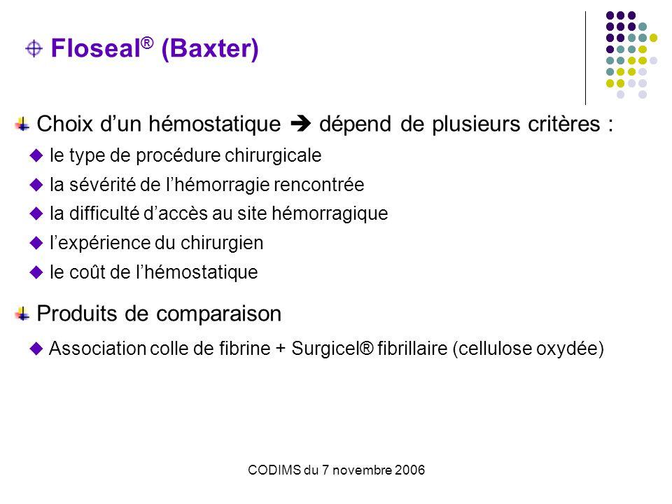 CODIMS du 7 novembre 2006 Floseal ® (Baxter) Choix dun hémostatique dépend de plusieurs critères : le type de procédure chirurgicale la sévérité de lh