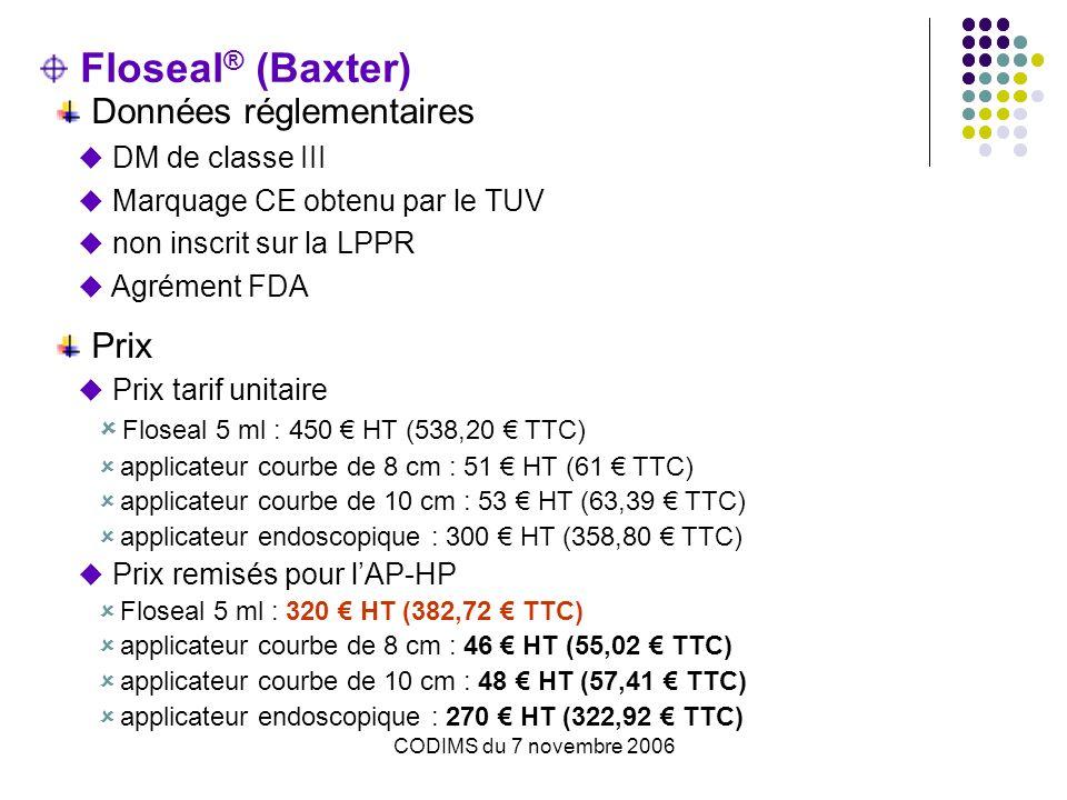 CODIMS du 7 novembre 2006 Floseal ® (Baxter) Données réglementaires DM de classe III Marquage CE obtenu par le TUV non inscrit sur la LPPR Agrément FD