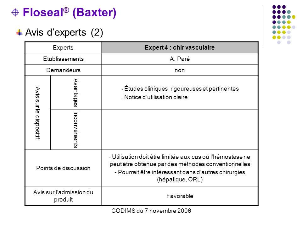 CODIMS du 7 novembre 2006 Floseal ® (Baxter) Avis dexperts (2) ExpertsExpert 4 : chir vasculaire EtablissementsA. Paré Demandeursnon Avis sur le dispo