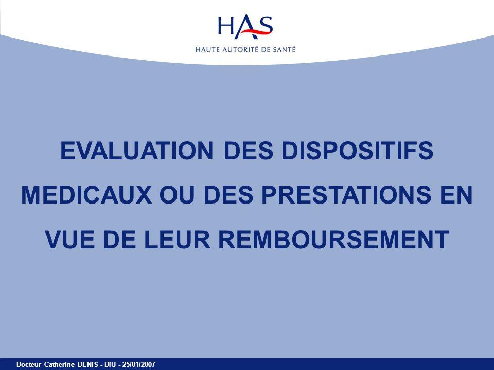 Docteur Catherine DENIS - DIU - 25/01/2007 EVALUATION DES DISPOSITIFS MEDICAUX OU DES PRESTATIONS EN VUE DE LEUR REMBOURSEMENT