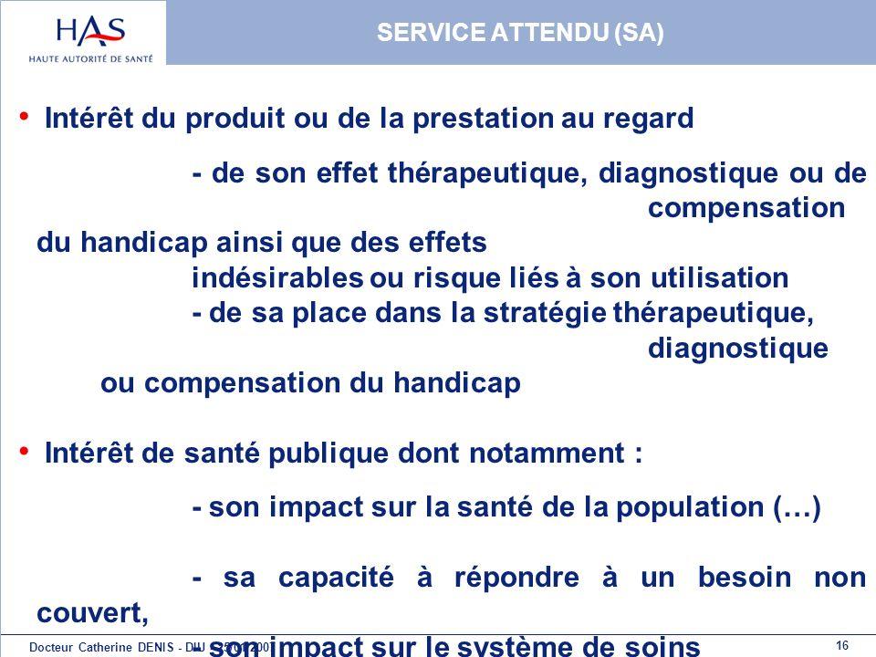 16 Docteur Catherine DENIS - DIU - 25/01/2007 SERVICE ATTENDU (SA) Intérêt du produit ou de la prestation au regard - de son effet thérapeutique, diag