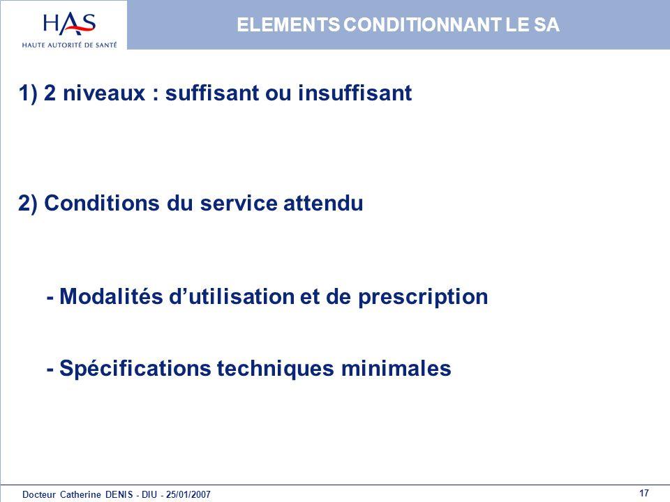 17 Docteur Catherine DENIS - DIU - 25/01/2007 ELEMENTS CONDITIONNANT LE SA 1) 2 niveaux : suffisant ou insuffisant 2) Conditions du service attendu -