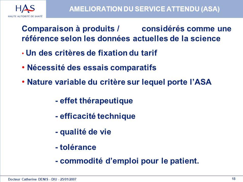 18 Docteur Catherine DENIS - DIU - 25/01/2007 AMELIORATION DU SERVICE ATTENDU (ASA) Comparaison à produits / considérés comme une référence selon les