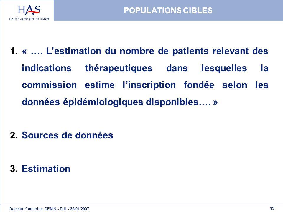 19 Docteur Catherine DENIS - DIU - 25/01/2007 POPULATIONS CIBLES 1.« …. Lestimation du nombre de patients relevant des indications thérapeutiques dans