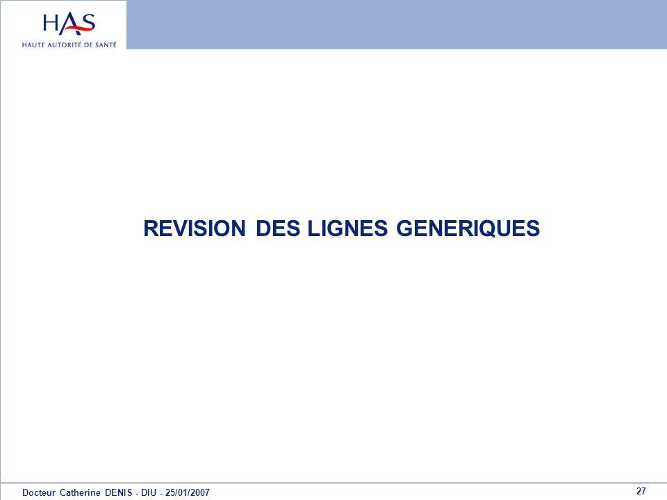 27 Docteur Catherine DENIS - DIU - 25/01/2007 REVISION DES LIGNES GENERIQUES
