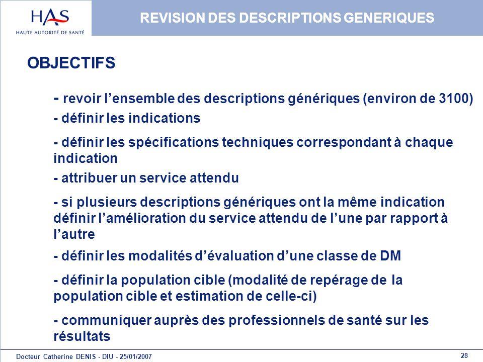28 Docteur Catherine DENIS - DIU - 25/01/2007 REVISION DES DESCRIPTIONS GENERIQUES OBJECTIFS - revoir lensemble des descriptions génériques (environ d