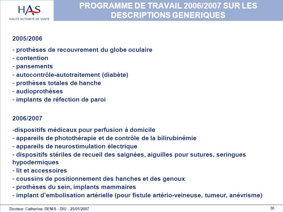 30 Docteur Catherine DENIS - DIU - 25/01/2007 PROGRAMME DE TRAVAIL 2006/2007 SUR LES DESCRIPTIONS GENERIQUES 2005/2006 - prothèses de recouvrement du