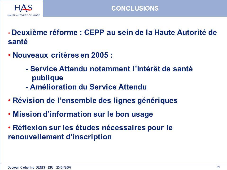 31 Docteur Catherine DENIS - DIU - 25/01/2007 CONCLUSIONS Deuxième réforme : CEPP au sein de la Haute Autorité de santé Nouveaux critères en 2005 : -