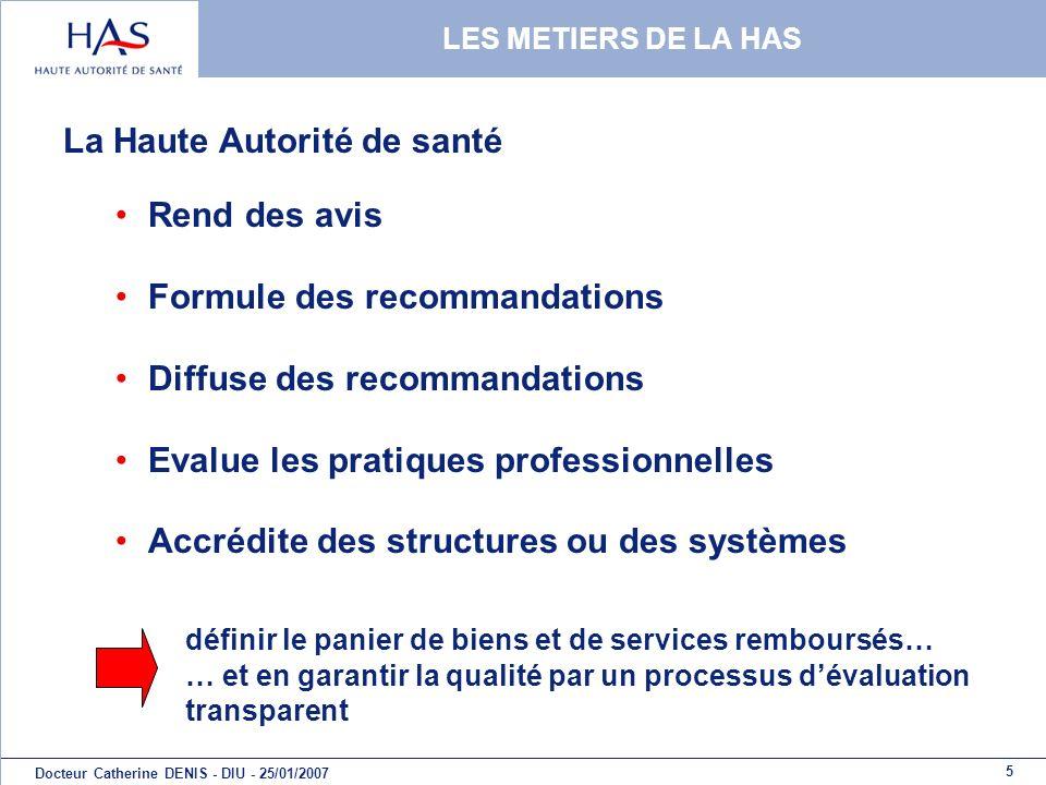 5 Docteur Catherine DENIS - DIU - 25/01/2007 LES METIERS DE LA HAS La Haute Autorité de santé Rend des avis Formule des recommandations Diffuse des re