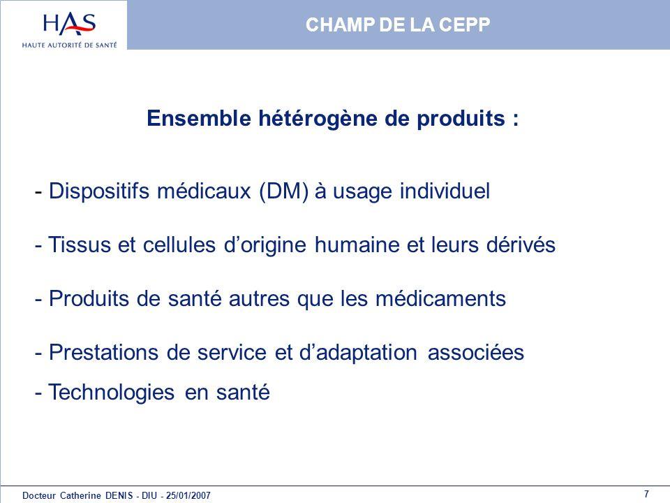 7 Docteur Catherine DENIS - DIU - 25/01/2007 CHAMP DE LA CEPP - Dispositifs médicaux (DM) à usage individuel - Tissus et cellules dorigine humaine et