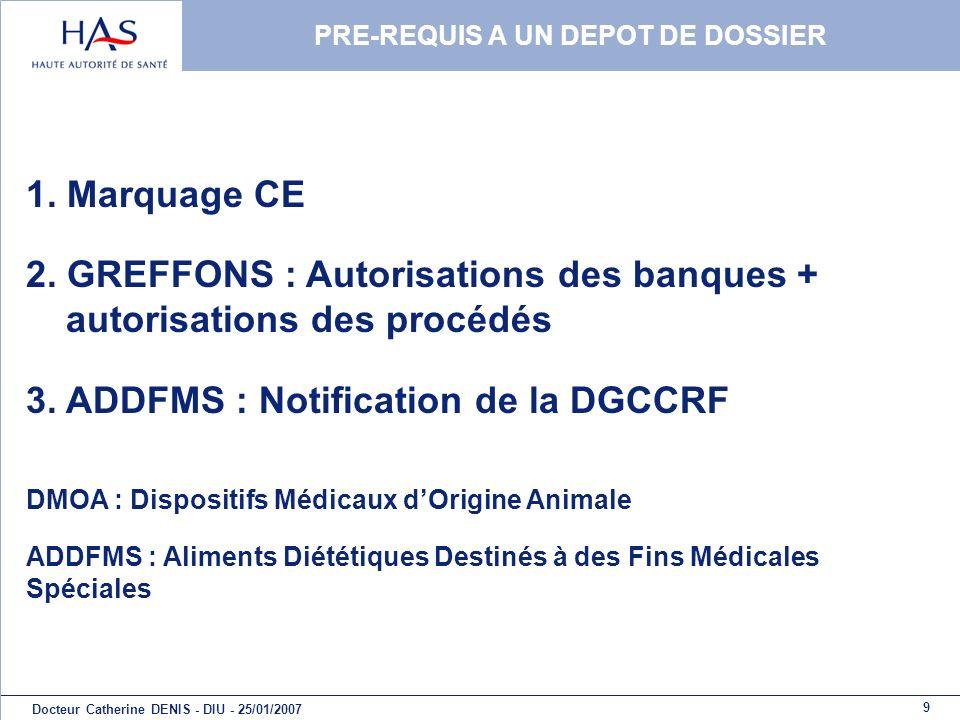 9 Docteur Catherine DENIS - DIU - 25/01/2007 PRE-REQUIS A UN DEPOT DE DOSSIER 1. Marquage CE 2. GREFFONS : Autorisations des banques + autorisations d