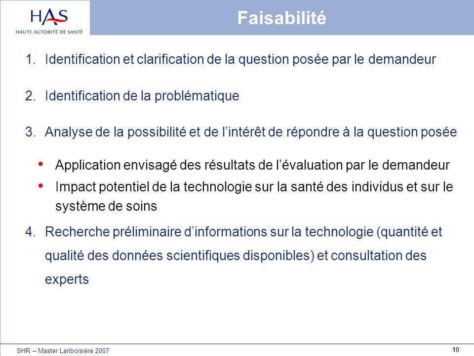 10 SHR – Master Lariboisière 2007 Faisabilité 1.Identification et clarification de la question posée par le demandeur 2.Identification de la problémat