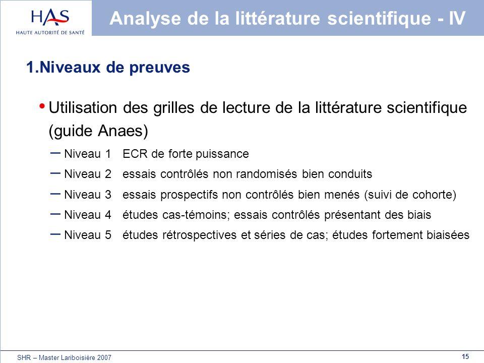 15 SHR – Master Lariboisière 2007 Analyse de la littérature scientifique - IV 1.Niveaux de preuves Utilisation des grilles de lecture de la littératur
