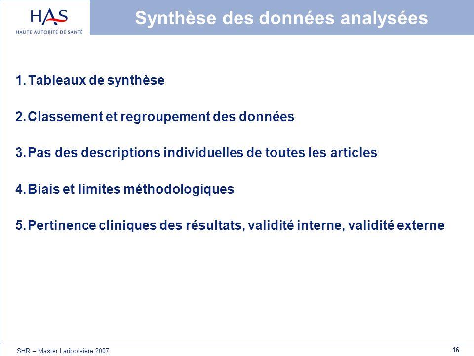 16 SHR – Master Lariboisière 2007 Synthèse des données analysées 1.Tableaux de synthèse 2.Classement et regroupement des données 3.Pas des description