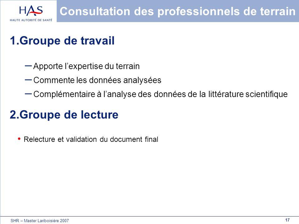 17 SHR – Master Lariboisière 2007 Consultation des professionnels de terrain 1.Groupe de travail – Apporte lexpertise du terrain – Commente les donnée